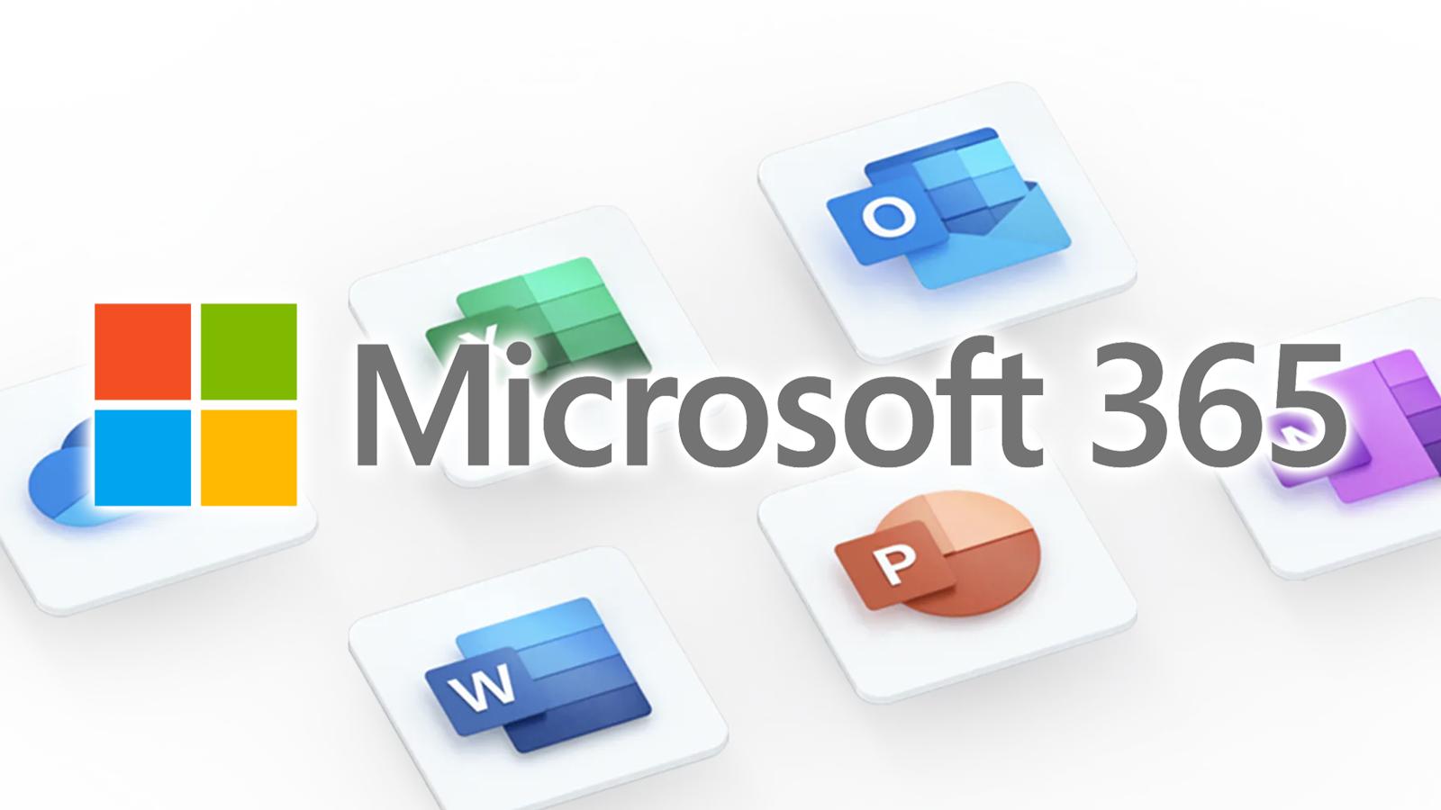 Logo i napis Microsoft 365, kolorowe ikony programów Office